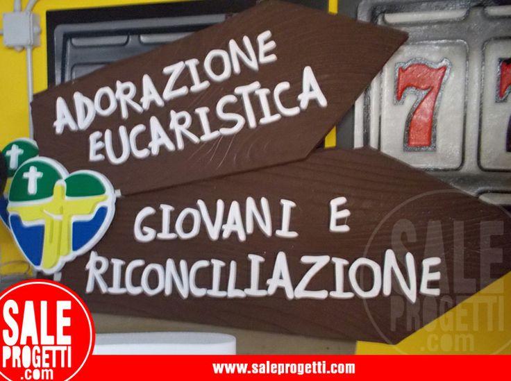 Cartelli in polistirolo per giornata eucaristica.  www.saleprogetti.com