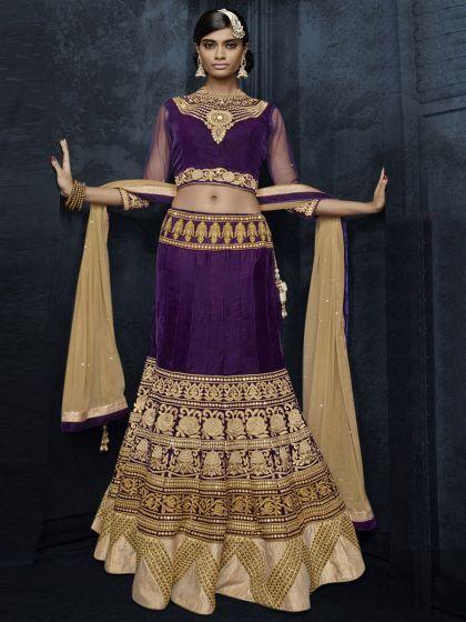 Deep Byzantium purple Violet and Tan Brown Velvet and Net Embroidered Bridal Lehenga Choli