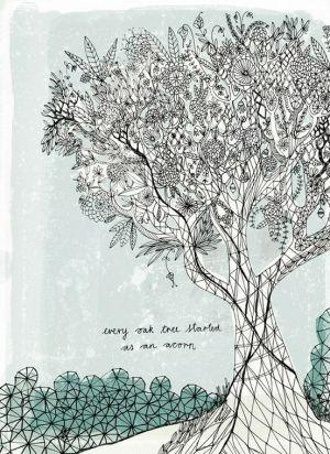 An oak tree. #art #print #tree by sammsfamily