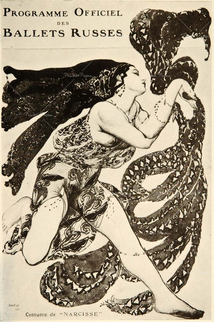 Bakst's images for costume design on a Ballets Russes program cover