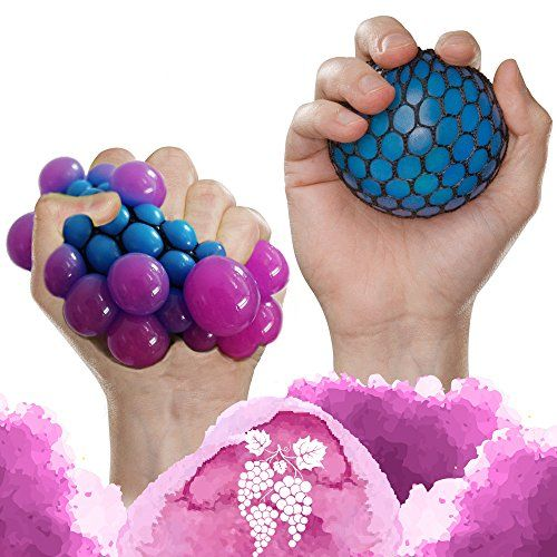 (Set of 5)Anti Stress Relief Squeezing Grape Ball+ Fidget toys Autism Toys For Anxiety,Sensory Kids and Adult,Mesh and Marble Fidget Relax Therapy Toys for Office Increase Focus Help with ADHD ADD OCD