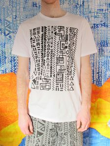 SassiCapra X LaPok Collaboration 100% Australian made, certified organic cotton unisex T-shirt. Hand screen printed in Melbourne at SassiCapra's studio.  HAPPY DAYS! Available: http://sassicapra.bigcartel.com/product/pok-glyph-t-shirt-white