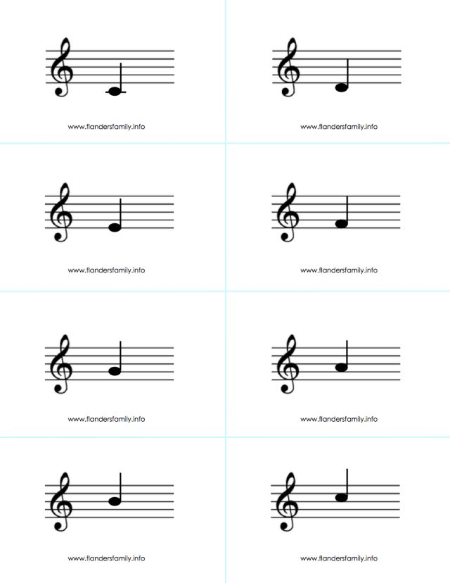 Remarkable image for printable musical note flash cards