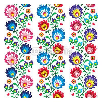 Zdjęcie Seamless traditional folk polish pattern - seamless embroidery | Fototapety | Dekoracje Na Wymiar