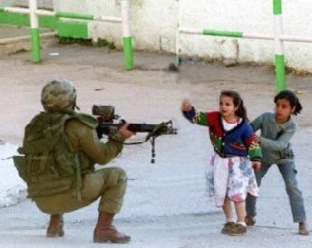 Israhell soldier and two Palestinian children