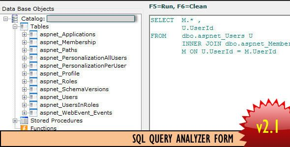 SQL Query Analyzer Form   http://codecanyon.net/item/sql-query-analyzer-form/5540023?ref=damiamio         	 Do you want to have your own SQL query analyzer inside your .Net applications?? With SQL Query Analyzer Form you add this functionality to your systems, so you (as an admin or super user) can have acces to Databases from your own Application anywhere inside your company without having to install the respective tools to do that.  	 SQL Query Analyzer Form just looks for stored…