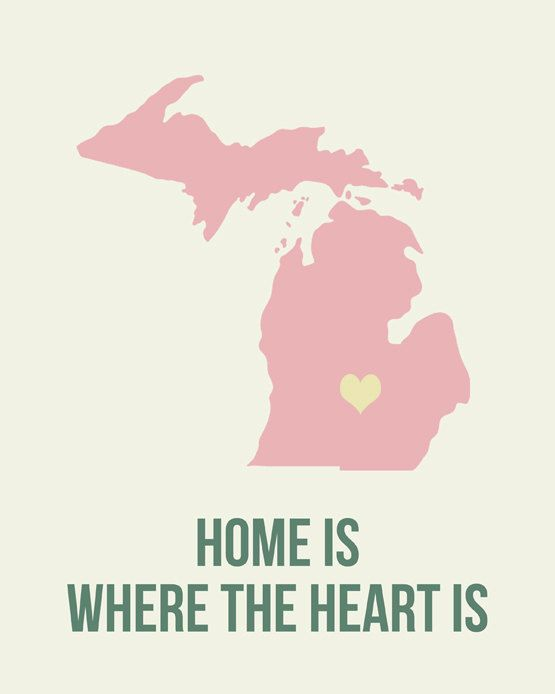 Michigan Home is Art Print 8 x 10 inch Travel Map by EinBierBitte, $19.99