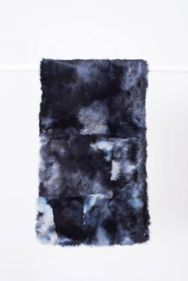 BLUE MOTTLED RABBIT FUR STOLE // © MORECCO 2014