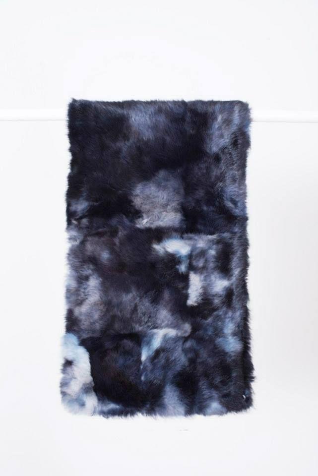 BLUE MOTTLED RABBIT FUR STOLE // © MORECCO 2014