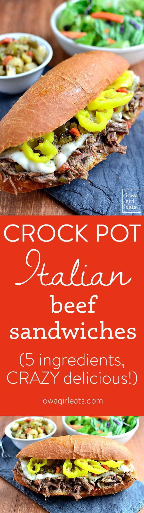 Crock Pot Italian Beef Sandwiches are the 5-ingredient crock pot version of the popular hot sandwich recipe. This easy dinner recipe is a crowd-pleaser! | iowagirleats.com