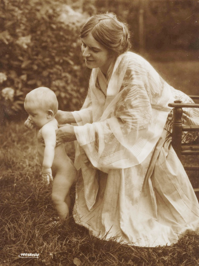 +~+~ Vintage Photograph ~+~+  Tender photograph of a mother and baby.  Her dress and shawl are gorgeous.