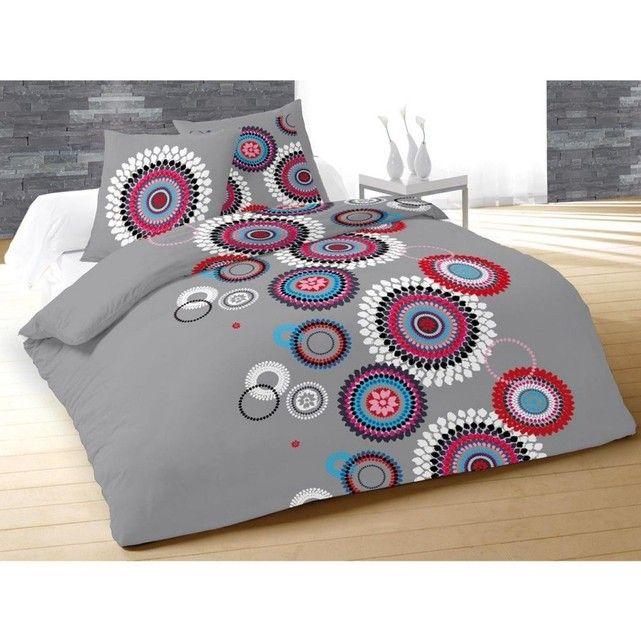 Parure de lit paillette gris TERRE DE NUIT : prix, avis & notation, livraison.  Parure de lit paillette gris :- 100% coton 57 fils- Toucher doux et agréable- Fond gris- Motifs colorés et joyeux- Apporte une touche de couleur et de la modernité à votre chambre- Une housse de couette 1 ou 2 taies d'oreiller réversibles à volants plats 63x63 cm (selon la dimension : 1 taie en 140x200 et 2 taies...