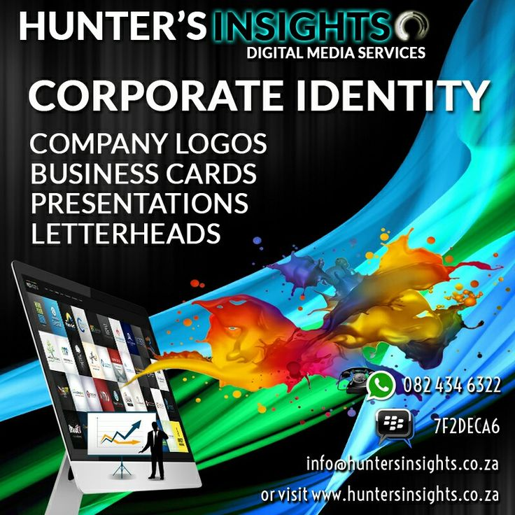 Starting your own company? Or simply need a new look? Well starting from as little as R250, why not allow Hunter's Insights to create your #corporate brand image?   Email us today on info@huntersinsights.co.za or visit us at http://huntersinsights.co.za