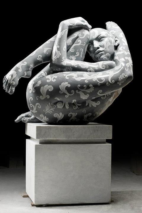 """Rabarama, """"Prest-azione"""", scultura in marmo, cm.165 x 175 x 85"""