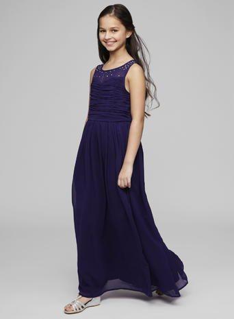 Teen Bridesmaid Illusion Neckline Grape Long Dress