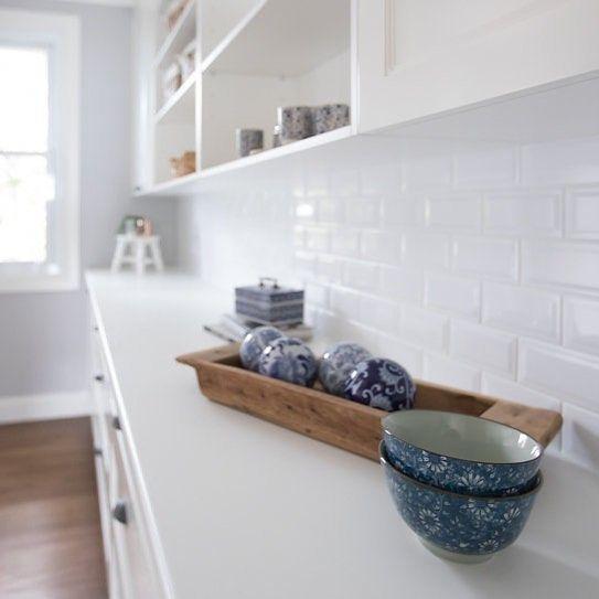 Ambertiles Kellyville: pinned from Instagram. Bevelled edge white tile. #splashback #kitcheninspiration #pantry #ambertiles #ambertileskellyville