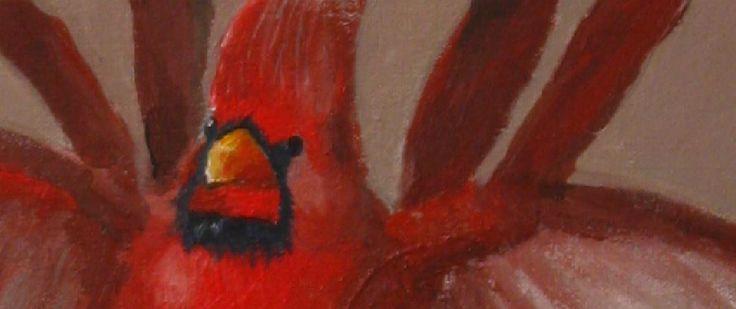 Red bird - Original acrylic painting