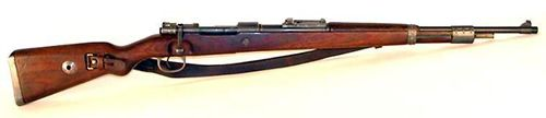 Kar 98 k Mauser rifle sheet.  Country creator/user: Germany Name: K98k Total production: 2 769 533 during WW2, 14 millions . Shooting mode: manuel Mauser bolt Caliber: 7,92 mm Magazine: 5 bullets Practical range: 400 m Operating distance: 2000 m Maximum range: 4000 m Rate of fire: 15 rounds/min Weight: 3,92 kg Rate of fire: 1101 mm
