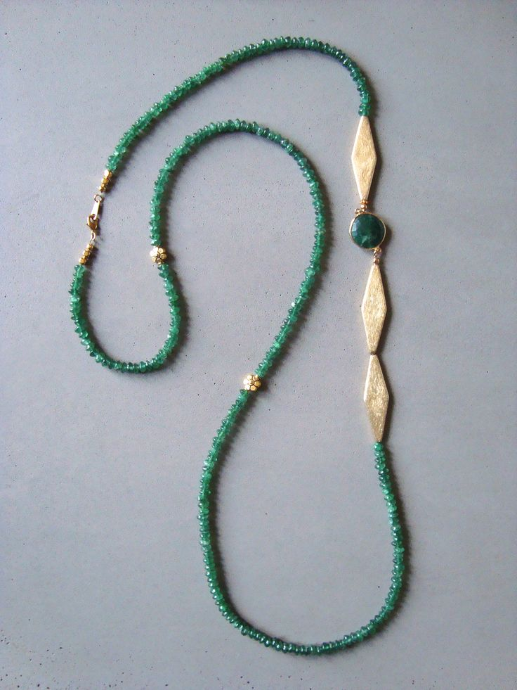 V I R E N T I — Vega Green Necklace.   Green Aventurine necklace with vermail marquee beads and round faceted green Agate. Gold petite flower beads. Lobster clasp. 40 inches long. — $148.00
