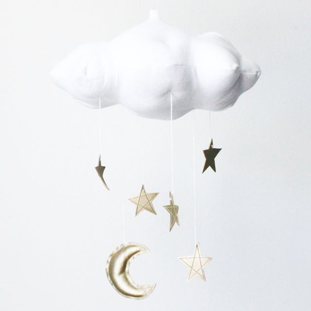 White Cloud, Moon & Stars Mobile in Gold - The perfect touch for a modern nursery, this mobile is sewn with white linen and your choice of stars and moon in faux metallic leather! #PNshop: Nurseries Mobiles, Stars Mobiles, White Linens, Gold Stars, Star Mobile, White Cloud, Felt Mobile, Cloud Mobiles, Hanging Mobile