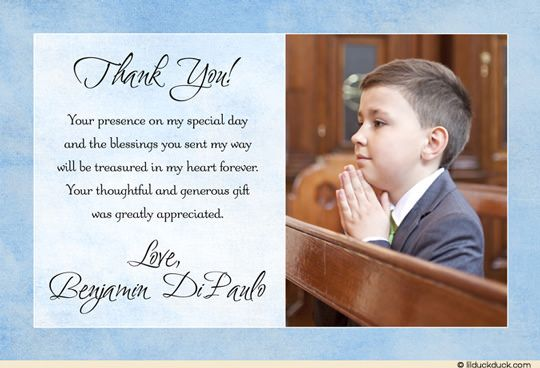 Communion Blessing Photo Card - Boy's First Thank You Wording
