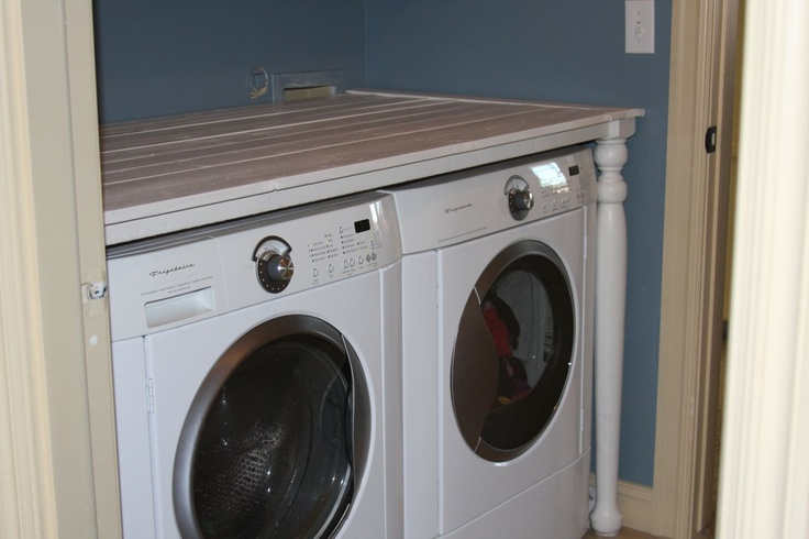 Folding table over washer dryer laudry room ideas for Laundry room countertop over washer and dryer