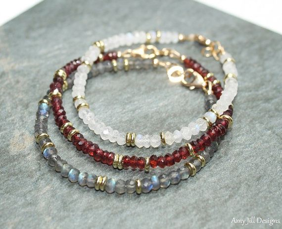 Amethyst Bracelet, Amethyst Jewelry, Brass, Beaded, Layering, February…