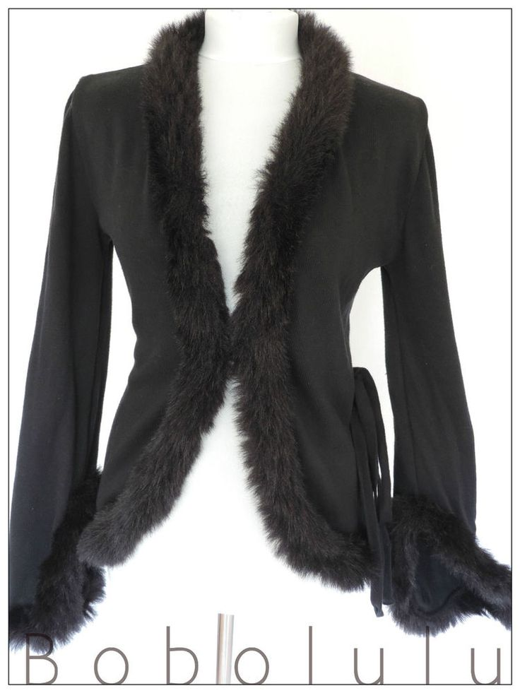 BLACK CARDIGAN /JACKET. A stunning cardigan / jacket in black. So Victoriana in style. UK 12. styled with a faux fur trimmed collar. Such a beautiful jacket /cardi hybrid. in 100% cotton knit. Miss Sixty. | eBay!