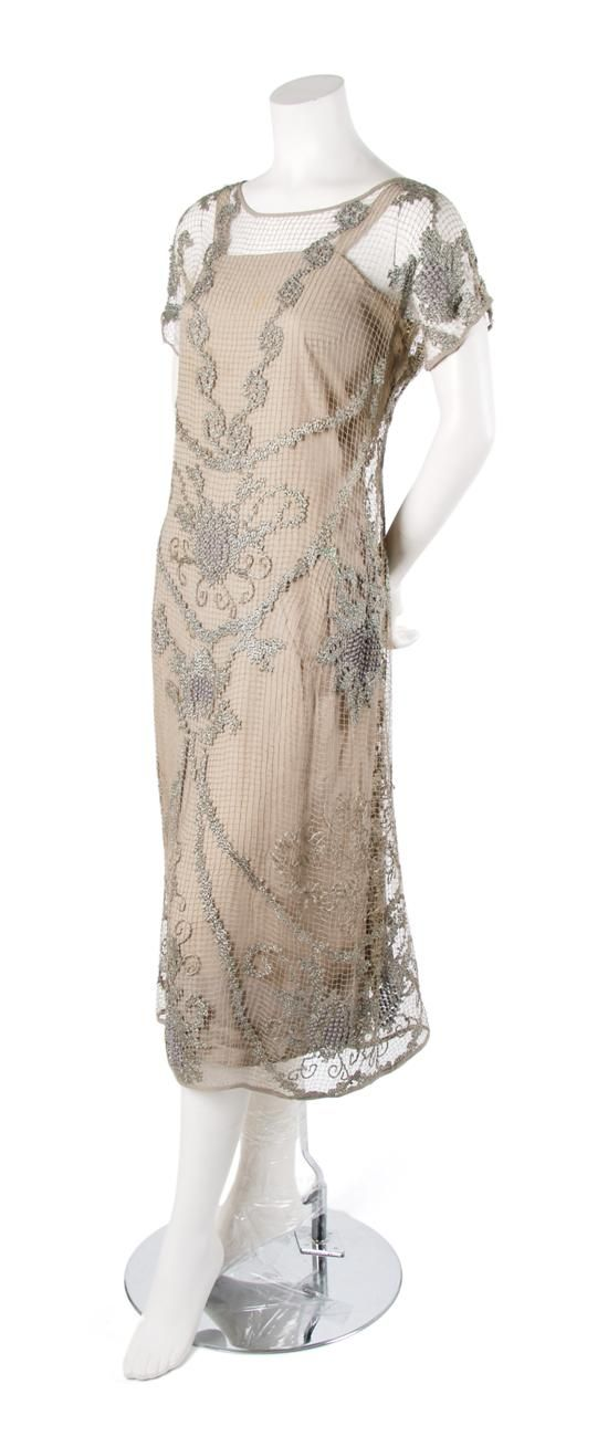Champagne Lace Evening Ensemble,   1920s