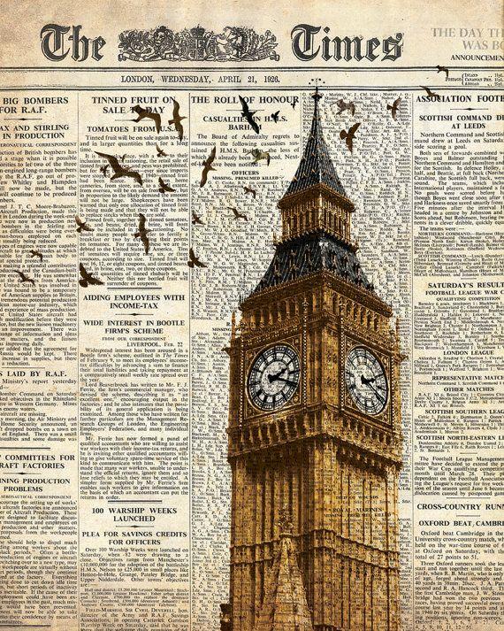 Big Ben and birds on newspaper. London. Wall art decoration print.
