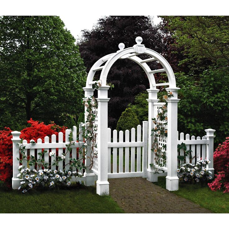 New England Arbors Two 4-ft. Cottage Picket Vinyl Arbor Wings | from hayneedle.com