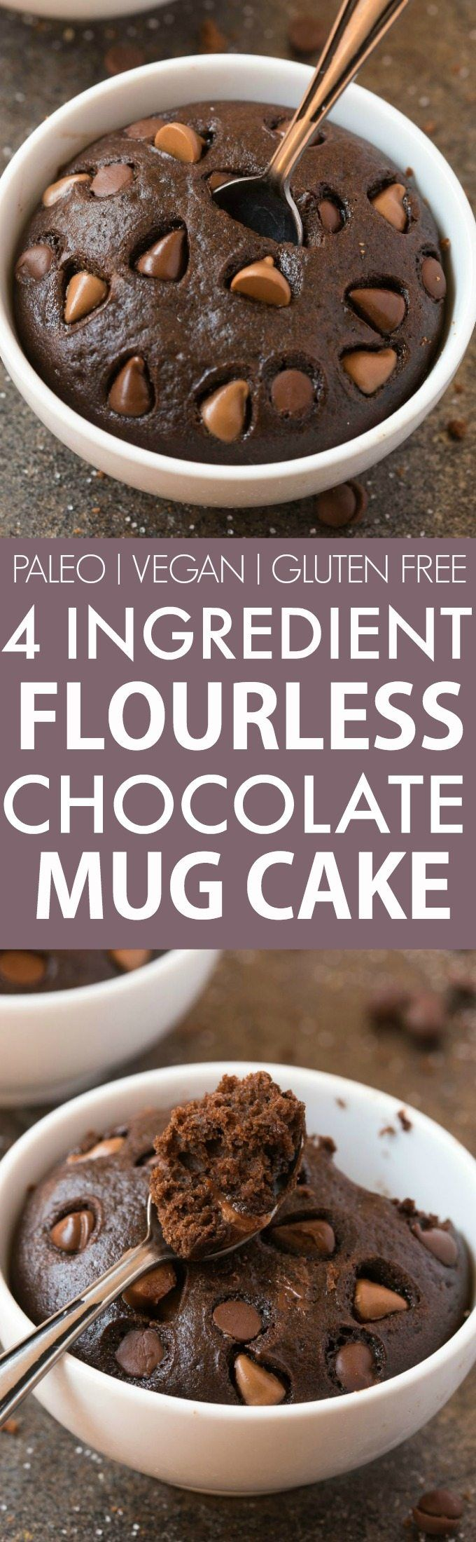 4 Ingredient Flourless Chocolate Mug Cake (V, GF, Paleo)- Ready in just ONE minute, this HEALTHY 4-ingredient chocolate cake is moist, gooey, naturally sweetened and has NO butter, oil, flour, grains or sugar, but you'd never tell- Oven option too! {vegan, gluten free, paleo recipe}- thebigmansworld.com