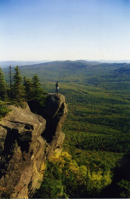 Standing above the Chimney Trail (to the right and pretty much straight down) on Tumbledown Mt. in western Maine, near Weld