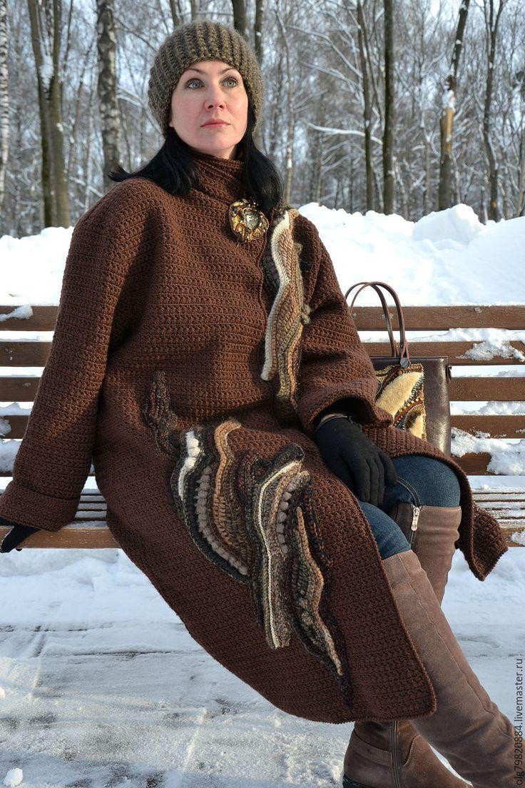 """Купить Авторское вязаное пальто-фриформ """"Лагерта"""" из шерсти короичневое - купить женское пальто"""