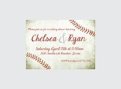 Baseball Wedding Shower Invitation Baseball by CrowningDetails