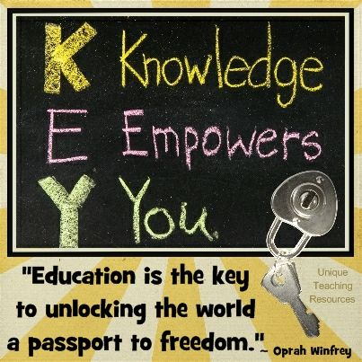 """Oprah Winfey: """"Education is the key to unlocking the world, a passport to freedom.""""  Find over 550 educations quotes to use for quotes of the day on Unique Teaching Resources:  http://www.uniqueteachingresources.com/Quotes-About-Education.html"""