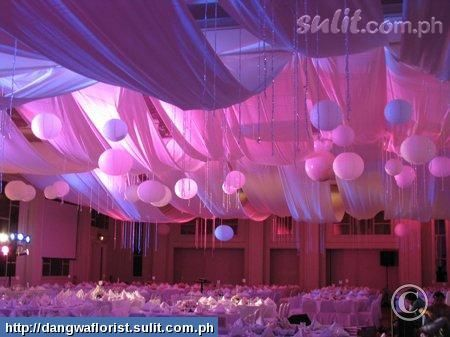 Colored Ceiling Swag with balloons. We can offer color variations with lights and lighting in the balloons. M.R.K.Entertainment