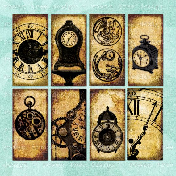 CLOCKS & CLOCK PARTS Digital Collage Sheet Vintage 1x2in Domino Tile Mechanical Diagrams - no. 0076
