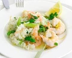 Risotto aux asperges et aux crevettes simple (facile, rapide) - Une recette CuisineAZ
