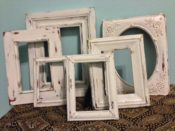 6 shabby chic white frames great detail by MySugarBlossom on Etsy, $45.00