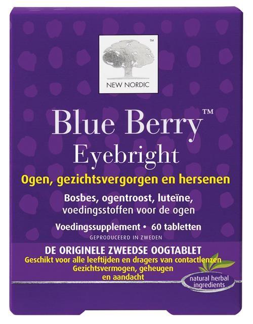 New Nordic Blue Berry Eyebright 60 tabletten - Blue Berry Eyebright bevat een complex van natuurlijke kruidenextracten en voedingsstoffen, speciaal voor de ogen.