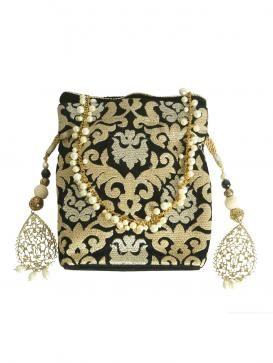 Buy Online Exotic black and golden potli - 2014