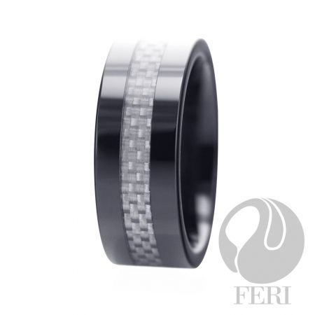 Width: 8mm - This gorgeous and unique FERI polished Tungsten ring is part of the FERI 2010 Fall Collection and it exudes a deep luster from within. This classic ring has a refreshingly contemporary style and comes backed with a lifetime warranty for your peace of mind. Tungsten carbides flawless features and indestructible nature will create an everlasting bond between you and your partner. 8mm high-tech ceramic and carbon fiber comfort fit.  http://darcymcmanus.com
