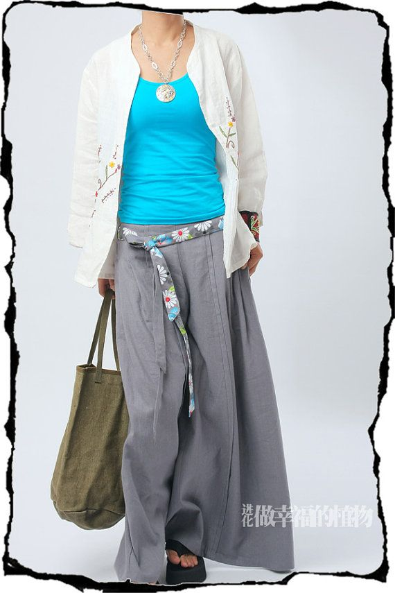Grey wide leg pants fashion skirt pants Linen by fashiondress6, $58.50