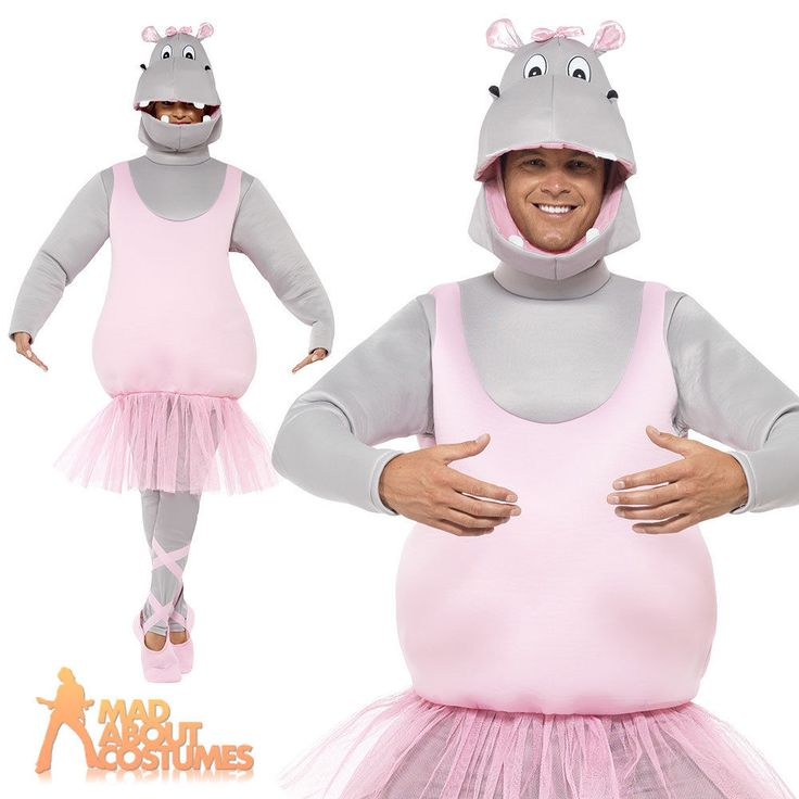 Adult Ballerina Hippo Costume Mens Funny Stag Fancy Dress Outfit Comedy Mascot