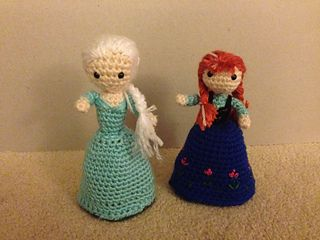 Inspired by a memory of a fabric doll I had as a child and my daughter's love of Anna and Elsa, this pattern is the basic instruction for both dolls' physical structure. The dolls change from their coronation attire to their respective winter attire, by flipping their skirts over their heads.