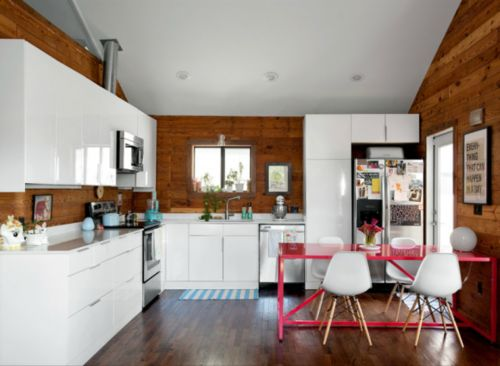 : Pink Table, Kitchens Tables, Interiors Design, Pink Kitchens, House, Modern Kitchens, Wood Wall, White Cabinets, White Kitchens