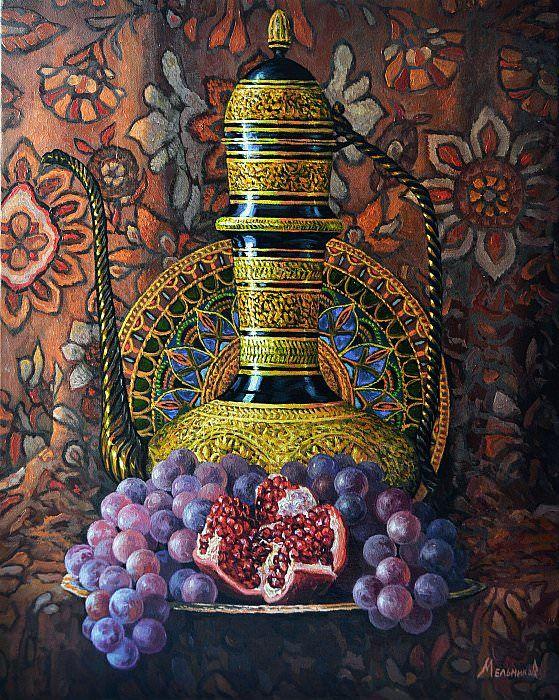 Виноград и гранат (с изображениями)   Краска, Рисунок, Гранат
