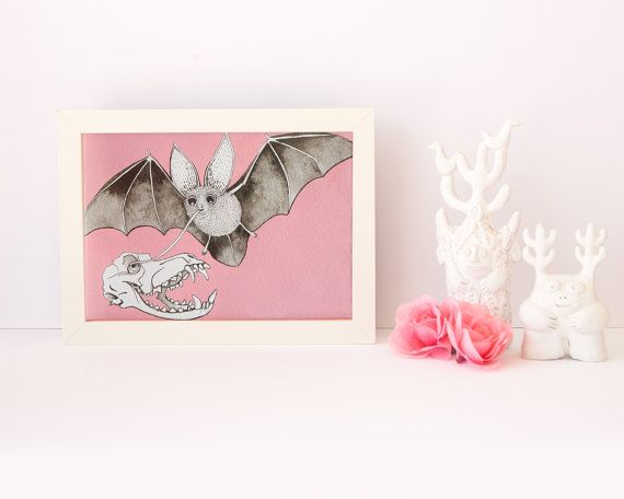 Original painting for sale Cute Bat and Skull on pink  by RUTA13