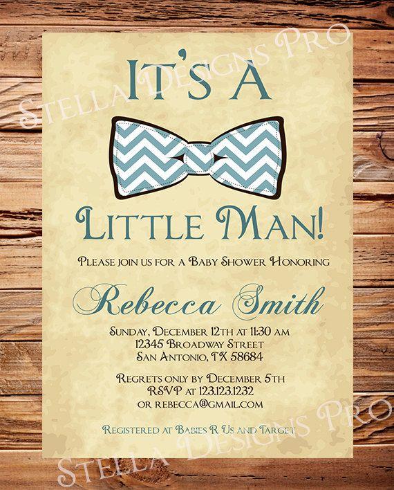 Baby Shower Invitation Boy, Bow Tie Boy Shower, Little Man, Brown, Teal